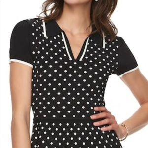 ELLE Polka-Dot Peplum Short Sleeves Large Sweater